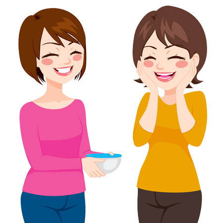 friend: Happy friendly neighbor women sharing homemade food on food container