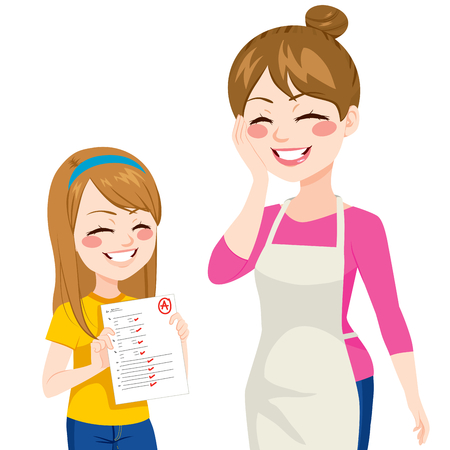 Bella joven niño que muestra a su madre feliz grados buena escuela