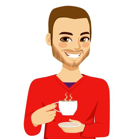 뜨거운 커피를 마시는 행복 매력적인 젊은 남자