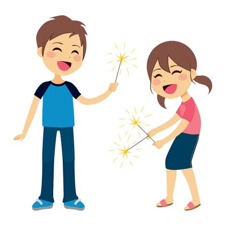 brandweer cartoon: Leuke kinderen jongen en meisje spelen met sparkler vuurwerk