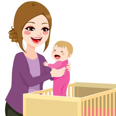 bebes: Mama joven hermosa niña recogiendo desde la cuna Vectores