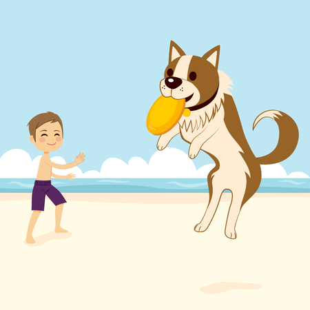 Boy playing with dog catching flying disk on the beach