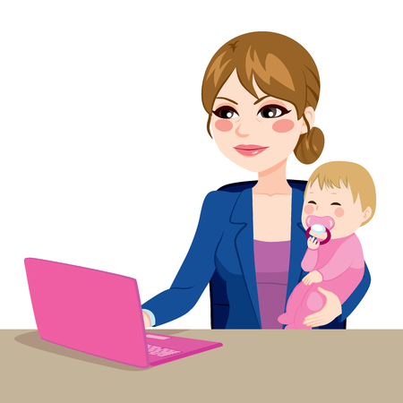 working at home: Focused mother multitasking working on laptop while holding little baby girl