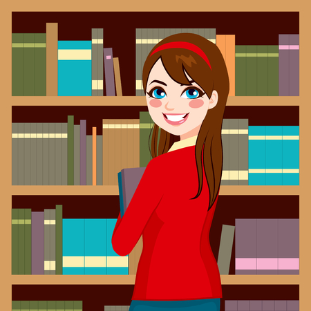 Beautiful brunette librarian woman in library holding books