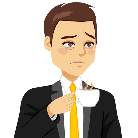 Tired businessman with sleepy look face drinking coffee