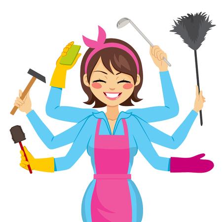 cocina caricatura: Madre hermosa morena multitarea con los brazos que trabajan realizando diferentes acciones