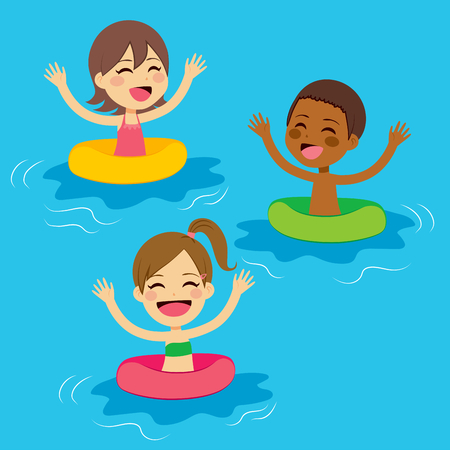 Three cute little kids swimming with colorful floats Çizim
