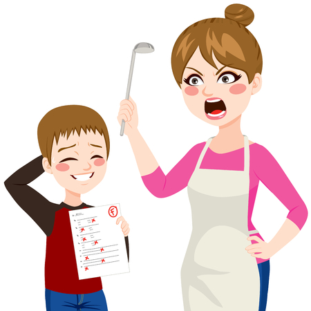 education cartoon: Sad little boy showing her angry mother bad grades Illustration