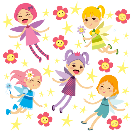 Cute beautiful colorful different fairies flying collection