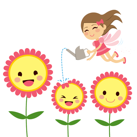 watering garden: Cute little happy fairy gardening and watering sweet flowers