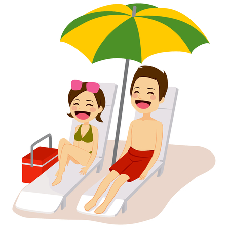 lounge chair: Couple relaxing sunbathing lying on lounge chair under beach umbrella