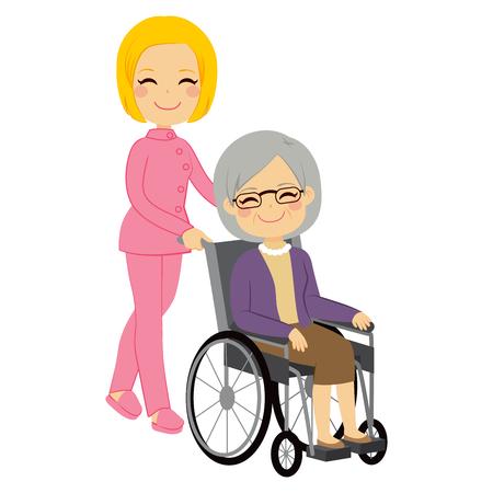 Mujer Paciente mayor en silla de ruedas con hermosa joven enfermera Vectores