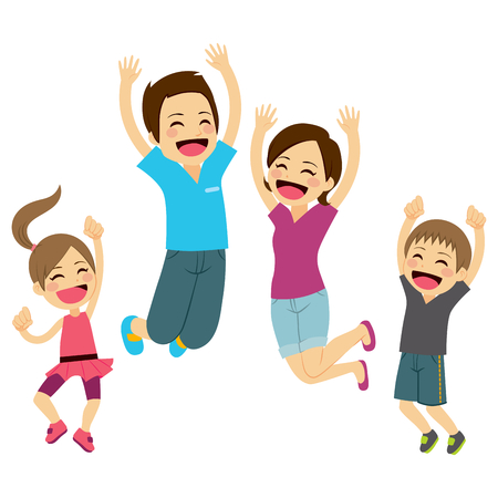 Cute happy family jumping together with arms up