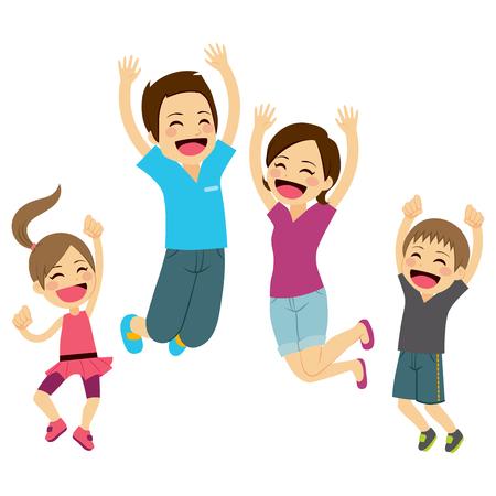 Carino famiglia felice saltando insieme con le braccia fino Archivio Fotografico - 42223699