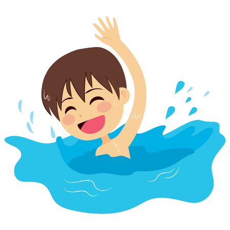 young boy in pool: Cheerful and active little kid swimming happy on water