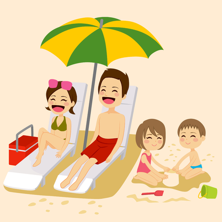 girls in bikini: Cute family on beach sunbathing relaxing and playing on vacation Illustration