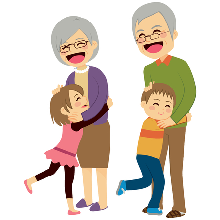 Cute happy little grandchildren hugging their grandparents