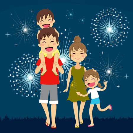 백그라운드에서 불꽃 놀이와 함께 여름 휴가 밤에 함께 걷는 행복한 가족