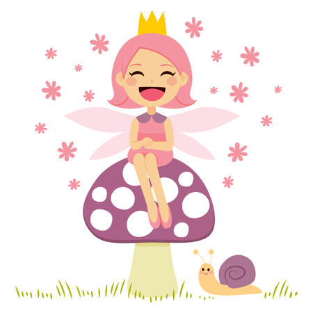 Cute little pink fairy sitting on mushroom and snail friend Illustration