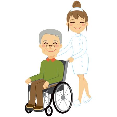 Paciente mayor en silla de ruedas con hermosa joven enfermera Vectores
