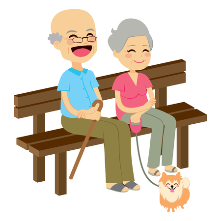 old people smiling: Cute senior couple sitting on wooden bench with dog resting
