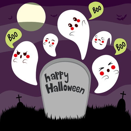 hovering: Halloween theme illustration of cute ghosts hovering over haunted cemetery tombstone on full moon night