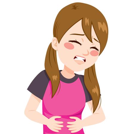 diarrea: Niña tocando su vientre con dolor de estómago horrible