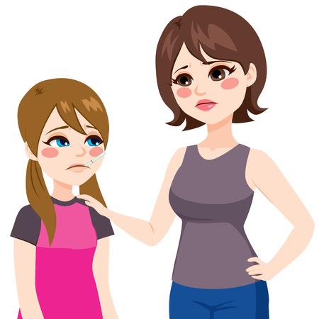 ragazza malata: Figlia con il termometro in bocca e la misurazione della temperatura madre preoccupata