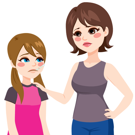 fille triste: Fille en utilisant un thermomètre dans la bouche et inquiet mère mesurer la température