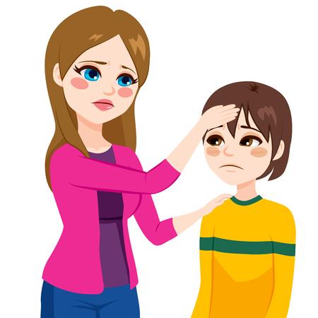 fiebre: Joven madre preocupada madre que controla temperatura tocando la cabeza hijo con la mano