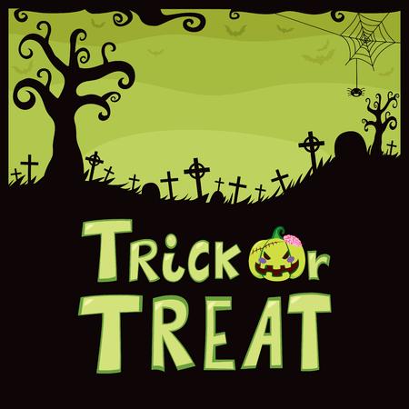 treats: Diseño del tema del verde de Halloween del cementerio con divertida araña misteriosas cruces lápida árbol y truco o el tratamiento de texto