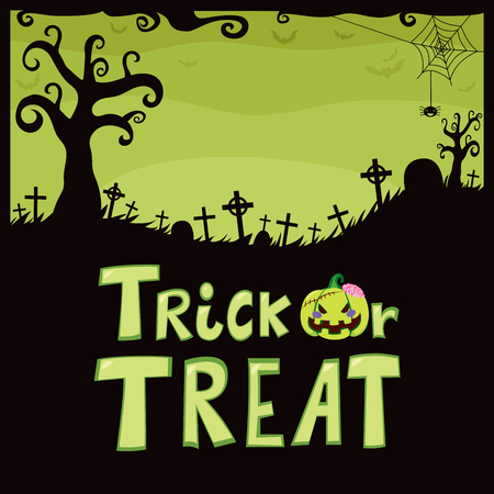 trick or treat: Halloween green theme design of cemetery with funny spider mysterious tree tombstone crosses and trick or treat text Illustration