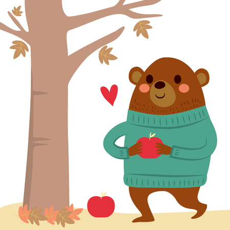 red apples: Cute bear wearing green wool sweater collecting red apples on autumn forest