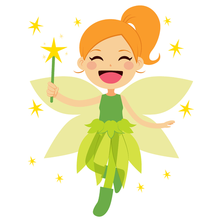 elves: Cute green fairy holding magical star wand flying happy