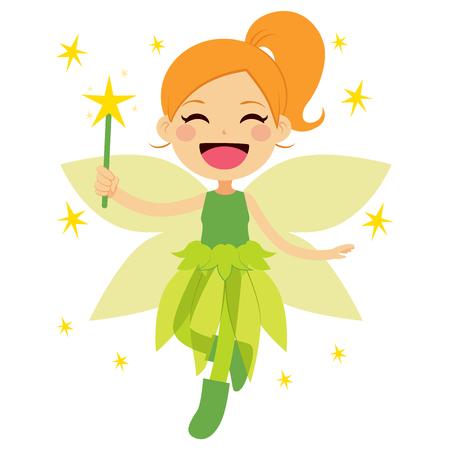 hadas caricatura: Linda hada verde sostiene varita mágica estrella volando feliz Vectores