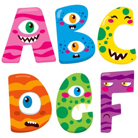 caras graciosas: Alfabeto divertido de Halloween con personajes monstruo abcdef lindo Vectores