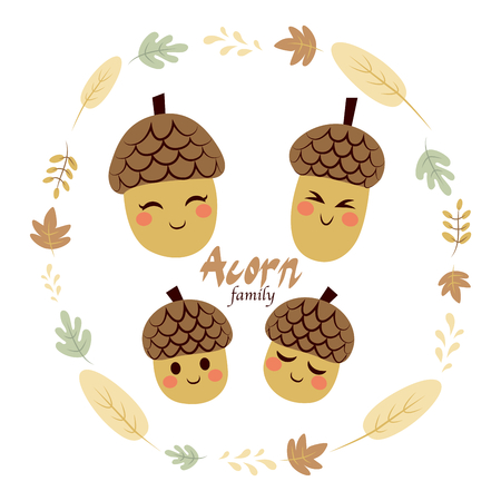 acorn seed: Four cute acorn family characters inside autumn theme leaves frame