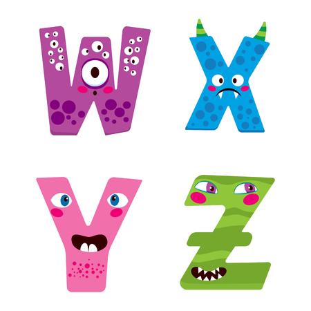 caras graciosas: Alfabeto lindo de Halloween con personajes monstruo divertido WXYZ