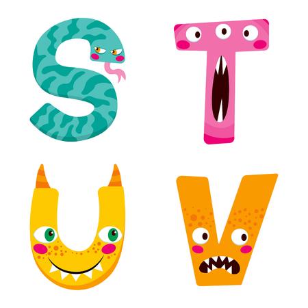 lettre alphabet: Alphabet drôle de Halloween avec des personnages de monstres stûv mignon Illustration