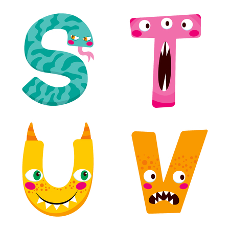 crazy cute: Funny Halloween alphabet with cute s t u v monster characters