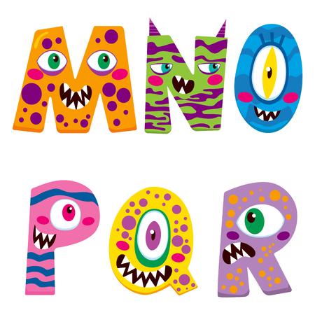 caras graciosas: Alfabeto de Halloween con personajes monstruo MNOPQR divertido
