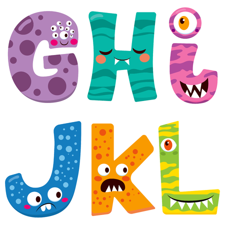 doodle art clipart: Cute Halloween alphabet with funny g h i j k l monster characters