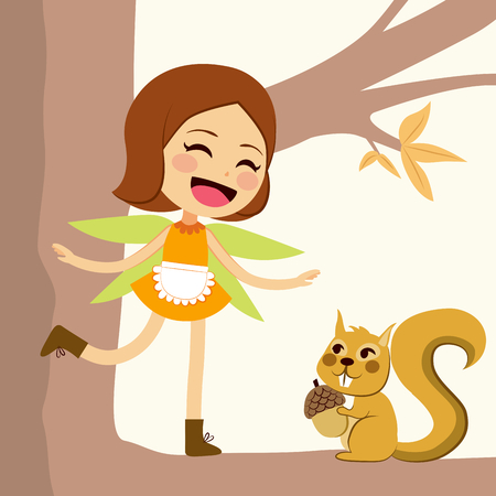 autumn tree: Cute happy autumn fairy standing on tree branch with little squirrel friend holding acorn