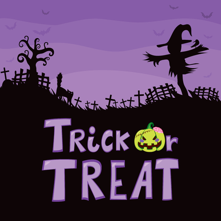 Halloween theme purple design of cemetery with scarecrow tombstone crosses with scared cat big tree and trick or treat text
