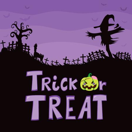 treats: Tema de Halloween diseño púrpura del cementerio con lápida espantapájaros cruza con el gato árbol grande y asustado truco o tratar de texto Vectores