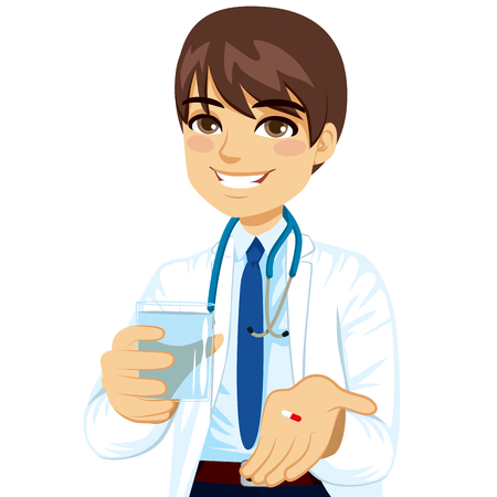 doctor giving glass: Young confident male doctor offering pill with glass of water
