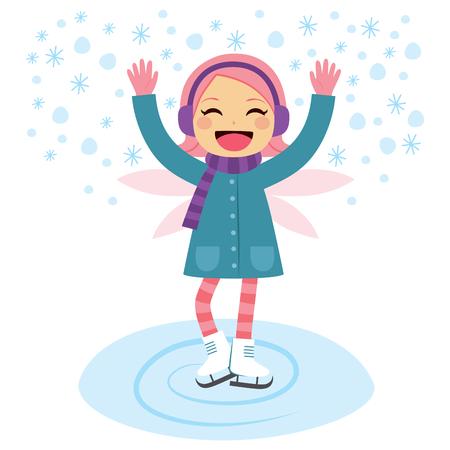 little girls: Beautiful little girl with winter fairy wings skating happy on frozen lake