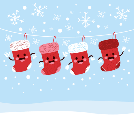 christmas cute: White line with cute christmas stockings character hanging on winter snow background Illustration