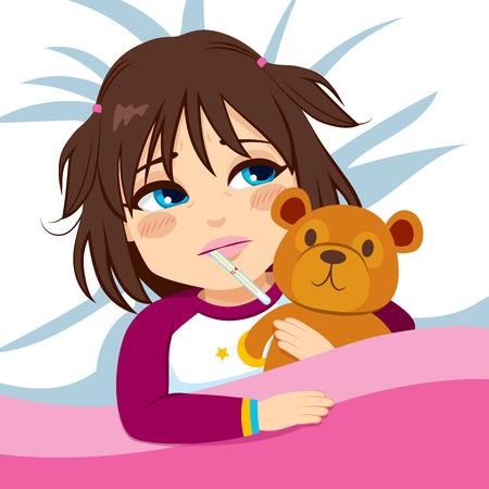 niños enfermos: Niña enferma en cama con el termómetro y que abraza el oso de peluche