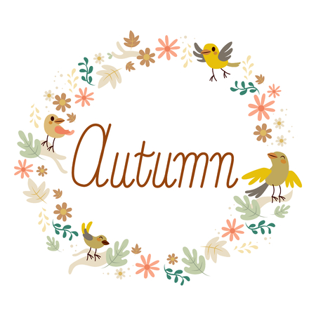 Cute round autumn frame with vintage birds leaves and flowers design